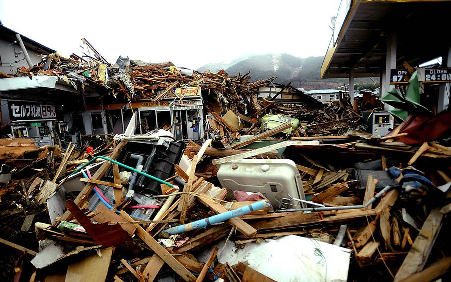 Debris and wreckage is piled up on March 16, 2011, in Ofunato, Japan, after a 9.0 earthquake hit Japan on March 11 that caused a tsunami that destroyed anything in its path.