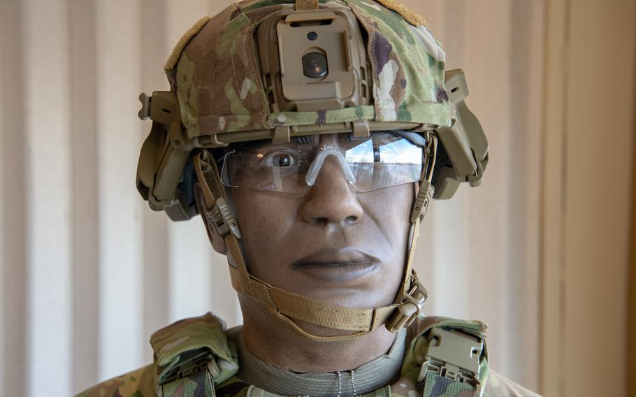 The new Integrated Head Protection System, or IHPS, is displayed at Fort Belvoir, Va., March 4, 2019. The helmet is a component of the new Soldier Protection System.