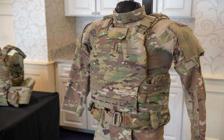 The new Soldier Protection System, or SPS, at Fort Belvoir, Va, March 4, 2019. The SPS includes a modular scalable vest, a ballistic combat shirt and a ballistic combat belt, along with an Integrated Head Protection System.