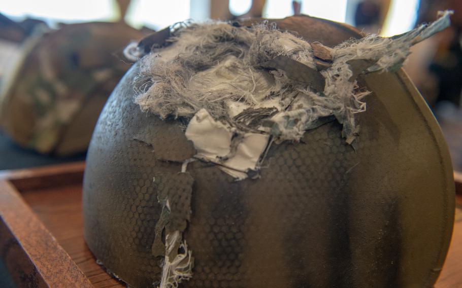 Staff Sgt. Steven McQueen's damaged Enhanced Combat Helmet during a ceremony on Fort Belvoir, Va., March 3, 2019.