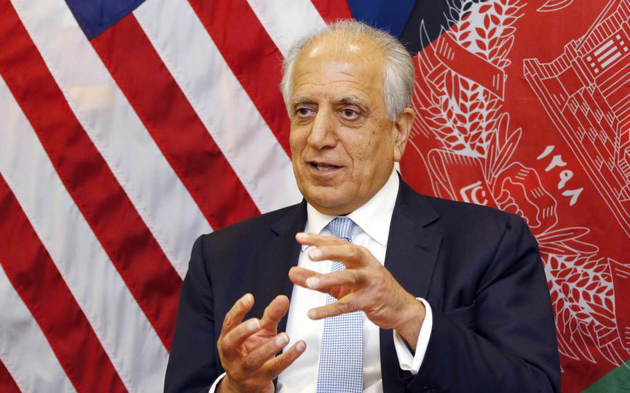 U.S. special envoy Zalmay Khalilzad during a roundtable discussion with Afghan media in Kabul in January, 2019.