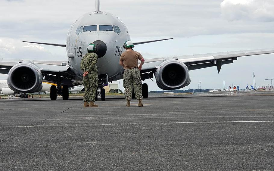 A U.S. Navy P-8A taxis at Clark Air Base, the Philippines, on Feb. 3, 2019. The Navy said Thursday, March 14, 2019, that the aircraft, based on the Boeing 737, is not affected by the 737 Max grounded by the Federal Aviation Administration.