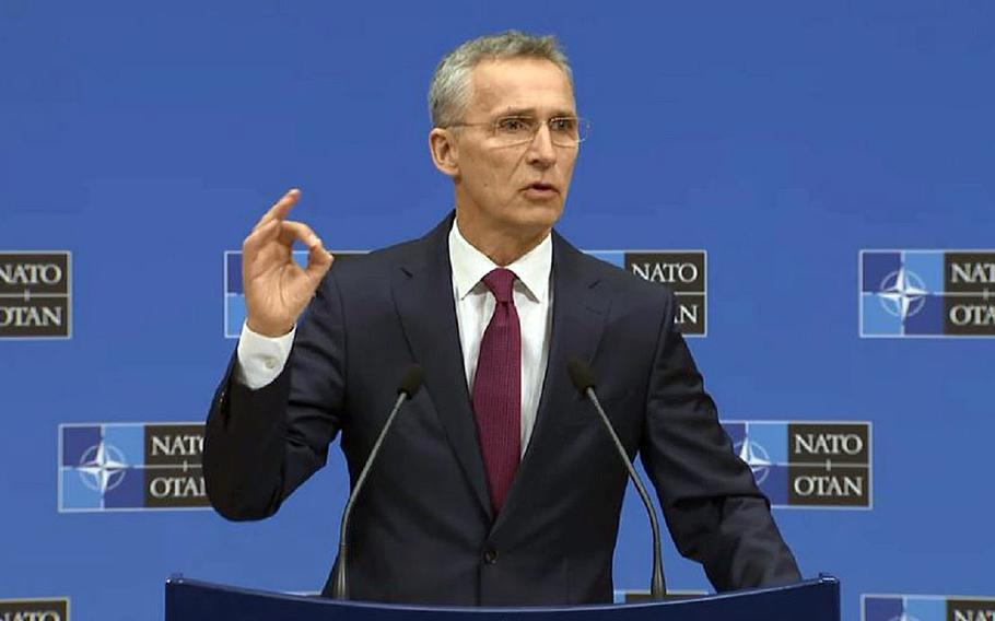 NATO Secretary General Jens Stoltenberg at a press conference at the alliance's headquarters in Brussels, Belgium, Thursday, March 14, 2019.