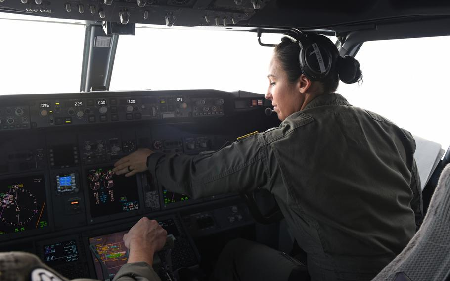 Pilots work the controls of a P-8A Poseidon on Feb. 26, 2019 in a flight over the Mediterranean Sea during the exercise Dynamic Manta. The forward-deployed squadron from Jacksonville, Fla., is conducting aerial reconnaissance that U.S. military leaders say is important in the face of increased Russian submarine activity in European waters.