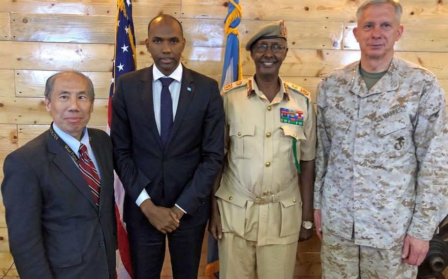 U.S. Marine Corps Gen. Thomas D. Waldhauser, commander of U.S. Africa Command, and U.S. Ambassador to Somalia Donald Yamamoto met with senior Somali officials during a visit to Mogadishu, Somalia, March 20, 2019.