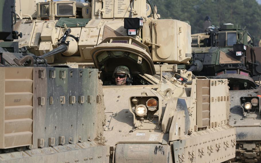 C Company, 1st Battalion, 35th Armor Regiment, 2nd Armored Brigade Combat Team, 1st Armored Division out of Fort Bliss, Texas, position M2 Bradley's in a staging area in the Drawsko Pomorskie Training Area on 23 March 2019.