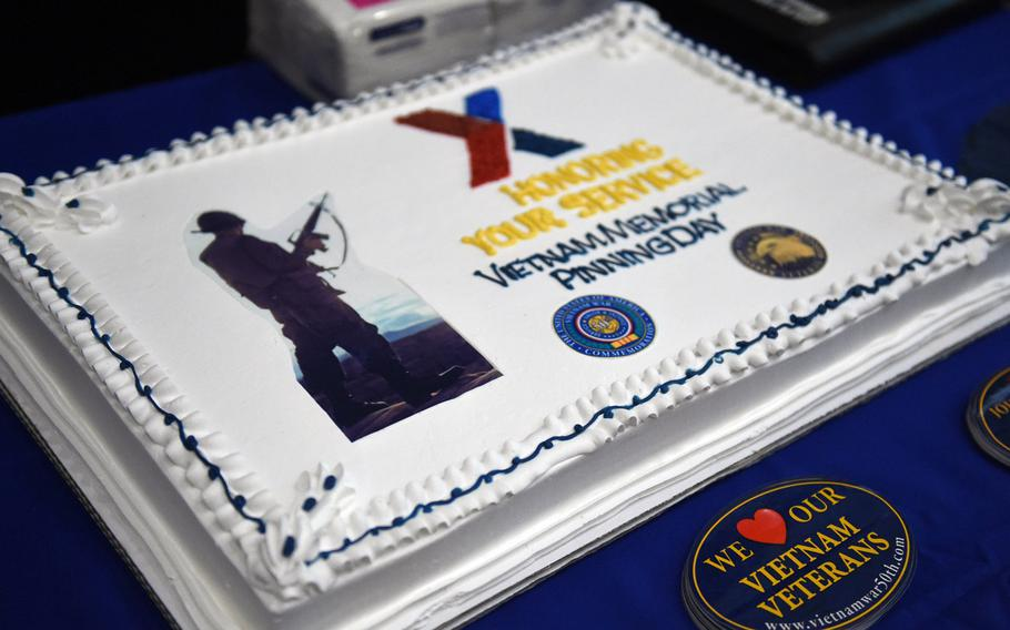 A cake at the celebration to honor Vietnam War veterans, on Friday, March 29, 2019, at Grafenwoehr, Germany.