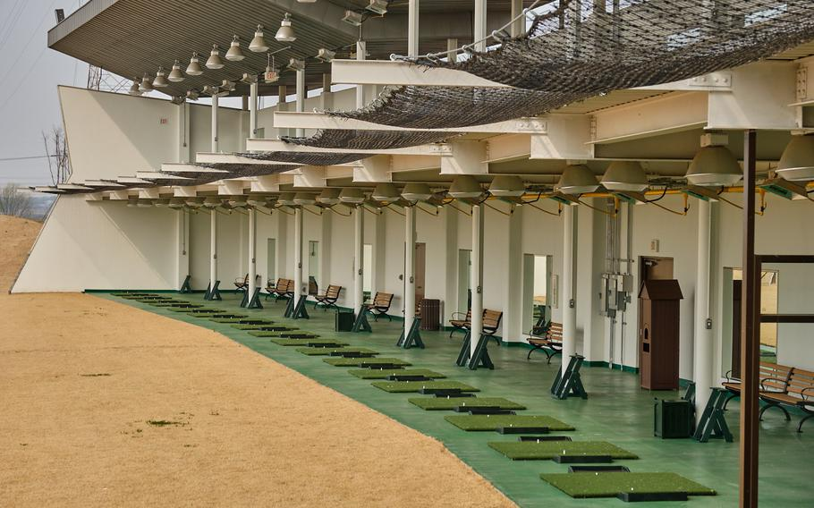 The new River Bend Golf Course at Camp Humphreys, South Korea, includes a 250-yard driving range with 48 stalls.