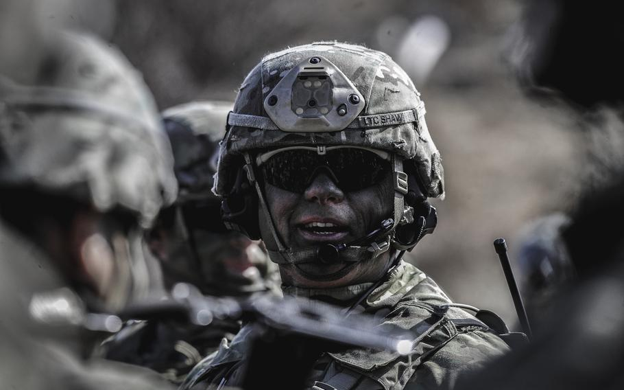 Lt. Col. Robert Shaw, battalion commander in the 173rd Airborne Brigade, addresses his paratroopers during exercise Eagle Sokol 19, at Pocek Training Area, Slovenia, March 26, 2019.