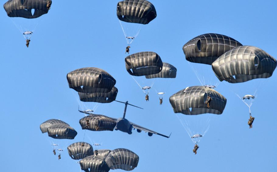 U.S. Army paratroopers conduct an airborne operation from a C17 Globemaster III during exercise Eagle Sokol at Cerklje Drop Zone in Slovenia, March 22, 2019.