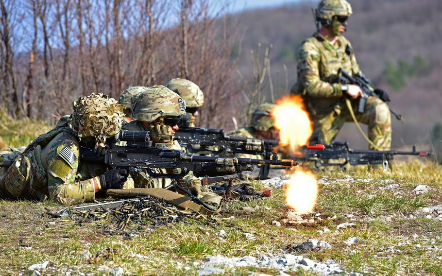 U.S. Army paratroopers assigned to 1st Battalion, 503rd Infantry Regiment, 173rd Airborne Brigade, engage the targets during a blank-fire exercise during Eagle Sokol at Pocek Range in Slovenia, March 25, 2019.