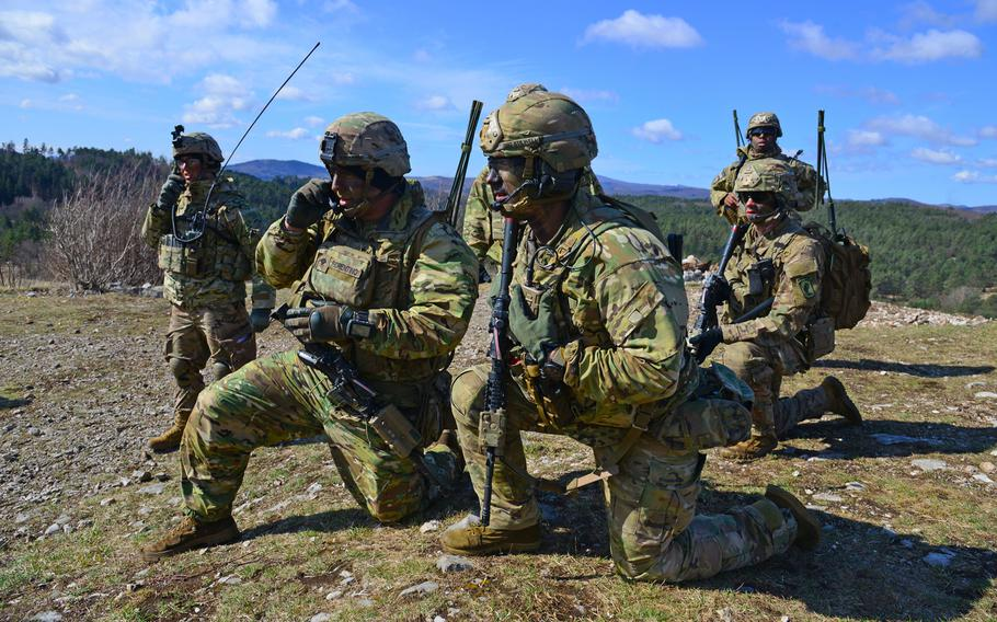 U.S. Army paratroopers assigned to 1st Battalion, 503rd Infantry Regiment, 173rd Airborne Brigade, conduct radio checks during a live-fire exercise as part of Eagle Sokol at Pocek Range in Slovenia, March 26, 2019.