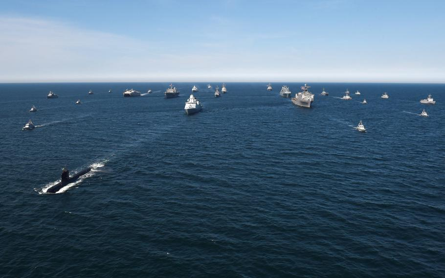 Thirty ships from 12 nations maneuver in close formation during the Baltic Operations 2018 exercise in the Baltic Sea in June 2018. The U.S. 2nd Fleet will lead the 47th annual exercise this year.