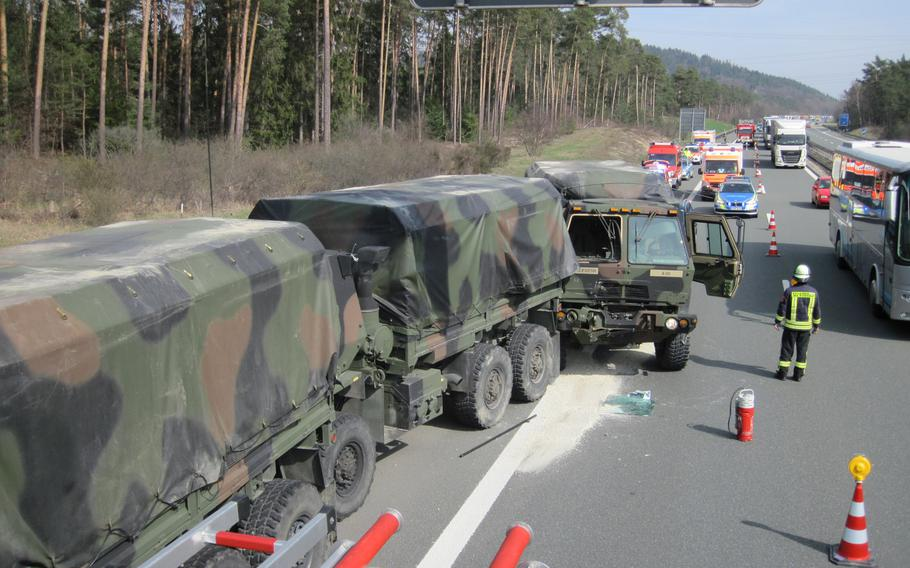 Four U.S. Army soldiers were injured Tuesday, April 2, 2019, when one of five army vehicles driving in a convoy on autobahn A6 near Altdorf, Germany, crashed into the vehicle that was in front of it.