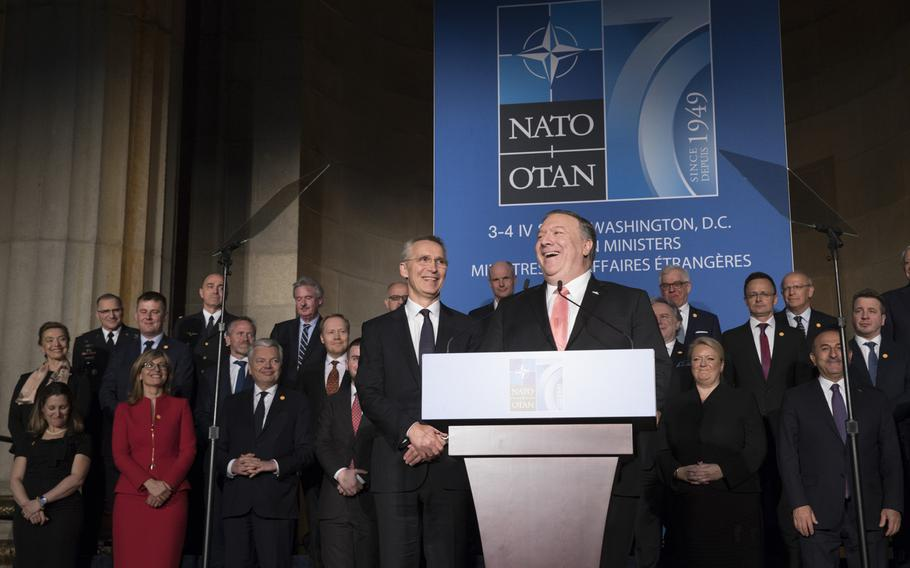 U.S. Secretary of State Mike Pompeo with NATO foreign ministers and NATO Secretary-General Jens Stoltenberg on April 3, 2019. Pompeo said the following day that China's actions will influence the alliance's future course.