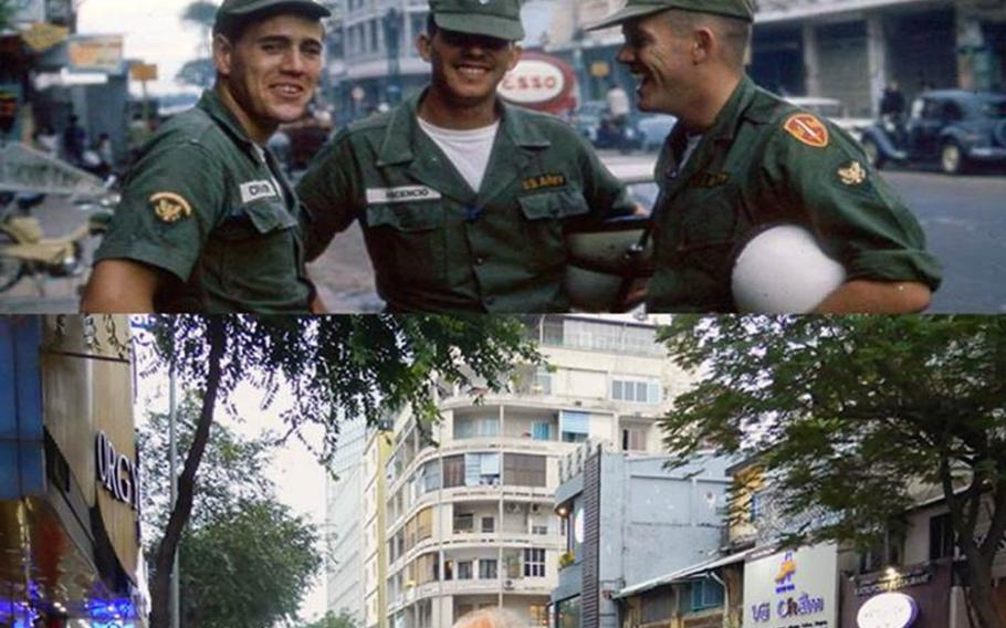 Photographs of the same street show, top, from left, Army buddies Gus Chaisson, Jim Ascencio and Ron Ware in Saigon in 1964 and, bottom, Ascencio on Jan. 3, 2018.