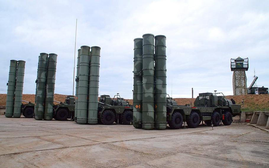 A row of Russian S-400 surface-to-air missile launchers during an exercise at Sevastopol, on the Crimean Peninsula, in 2018. Turkey's plan to buy the Russian system has caused tension with the U.S. and its NATO partners.