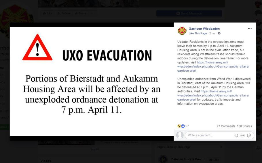 A screen shot from the Wiesbaden Army garrison Facebook page informing residents of the community's Aukamm Housing Area what they should do in preparation for the defusing of a 500-pound bomb from World War II found nearby.