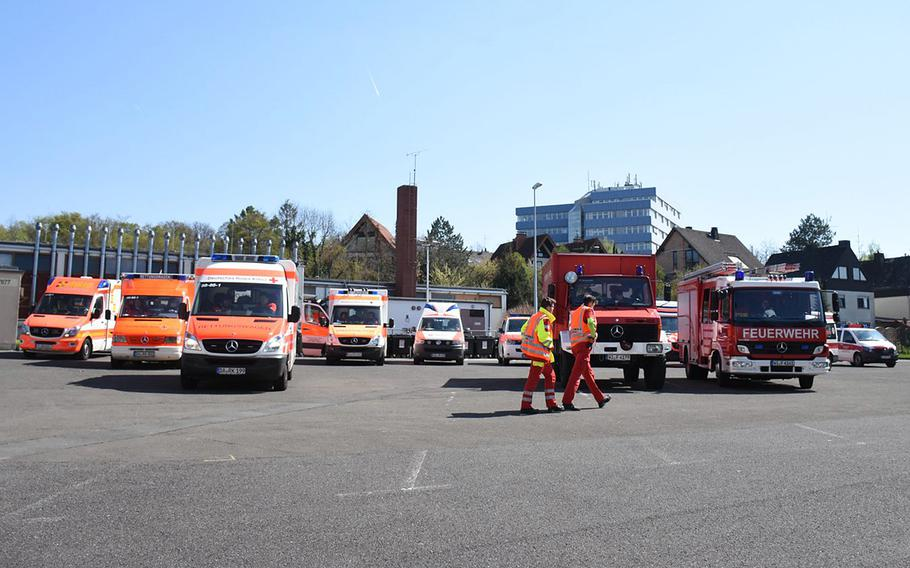 A World War II bomb discovered near military facilities in Wiesbaden, Germany, was safety removed late Thursday, April 11, 2012.  The Army garrison provided a staging area on Hainerberg for city emergency vehicles assisting with the evacuation in Bierstadt.