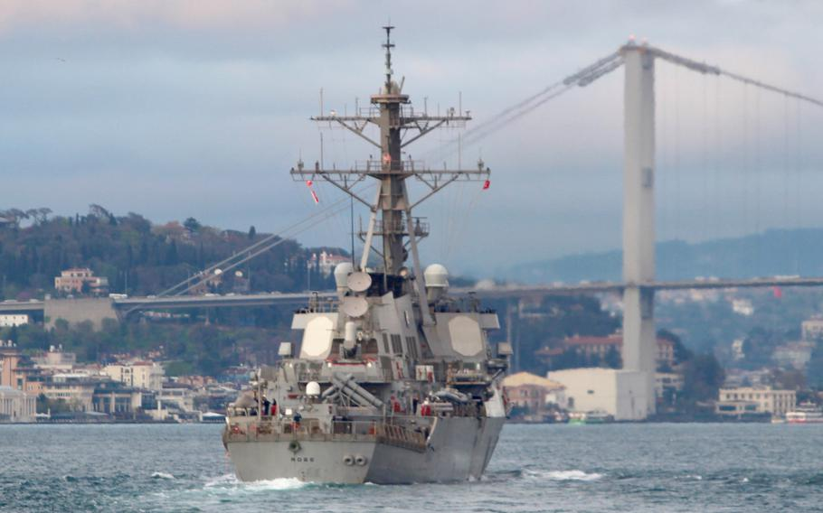 The USS Ross passes Istanbul on its way to the Black Sea on Sunday, April 14, 2019.