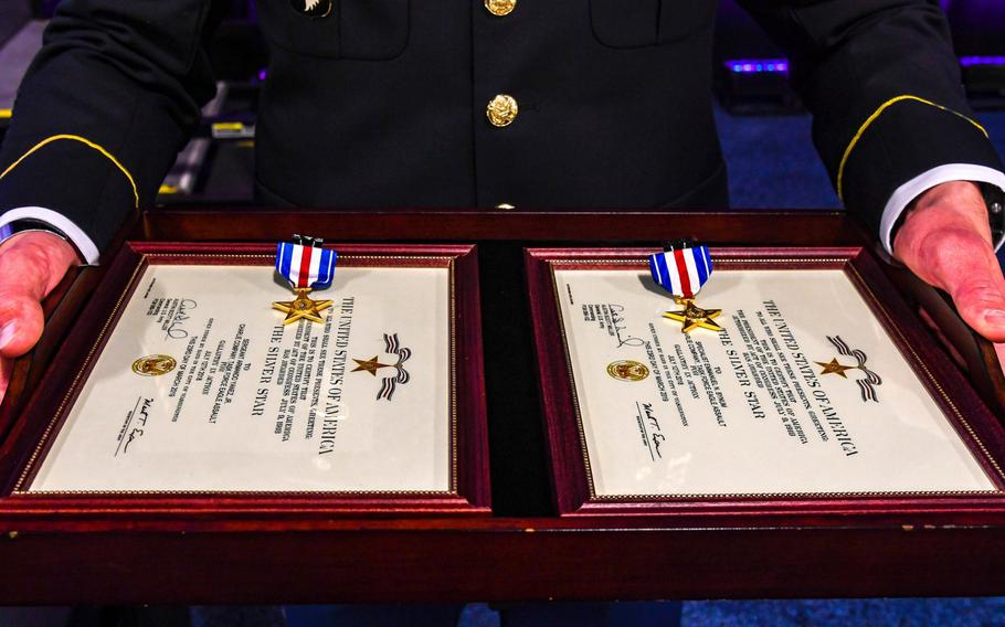 The Silver Star medal is awarded primarily to members of the U.S. armed forces for gallantry in action against an enemy of the United States. Two soldiers from Company C, 6th Battalion, 101st Combat Aviation Brigade, 101st Airborne Division, Sgt. Emmanuel Bynum and  Sgt. Armando Yanez, received medals during a ceremony held at the Army Aviation Association of America Summit 2019 in Nashville, Tenn. on Tuesday, April 16, 2019.