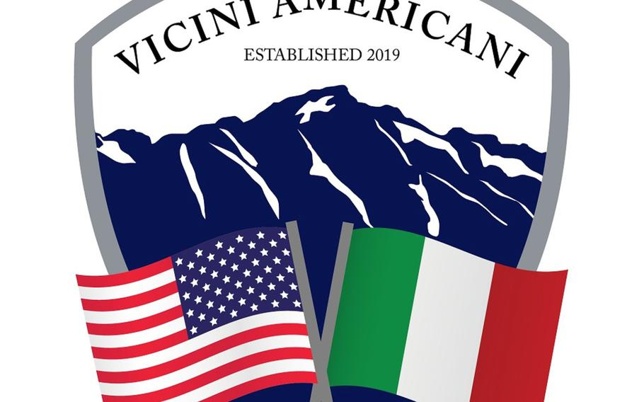 The emblem of the Vicini Americani program at Aviano Air Base, Italy.It is composed of both American and Italian community members who work together to encourage new American individuals and families to embrace their local community.