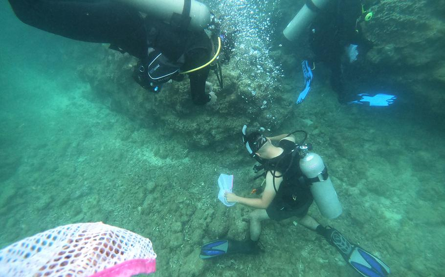 Volunteer divers search and collect trash from the ocean floor during a cleanup event hosted by Mermaid Island Diving and Project Aware in Chatan, Okinawa, Saturday, April 20, 2019.