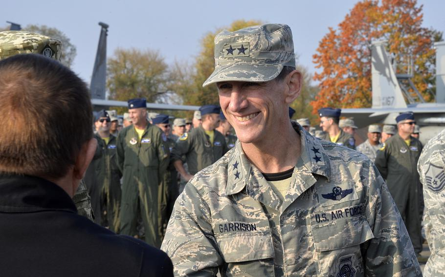 Maj. Gen. Clay L. Garrison, former California Air National Guard commander, greets dignitaries during an exercise at Starokostiantyniv Air Base, Ukraine, Oct. 8, 2018. Garrison was removed in April for an inability to maintain a positive command climate, state officials said.