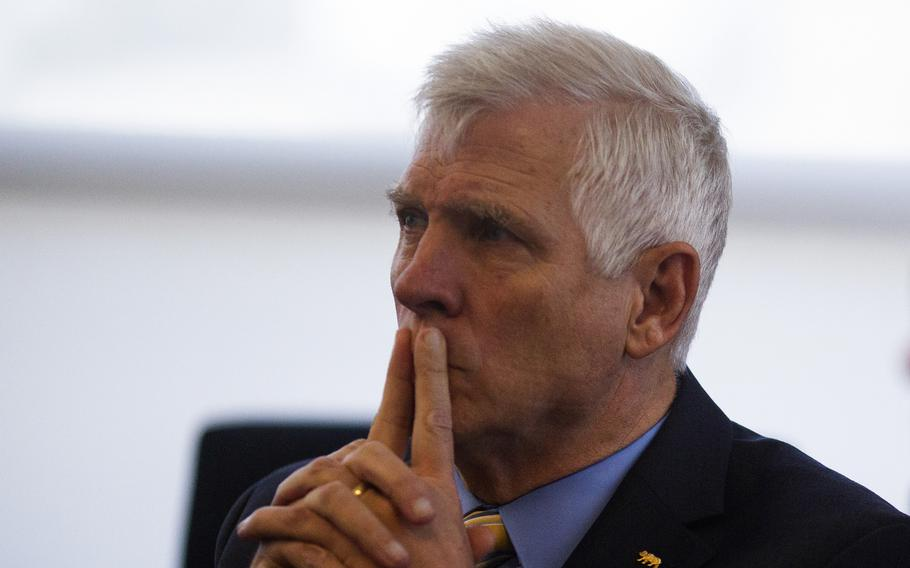 Sen. Tom Umberg, who represents California's 34th state senate district, listens to a briefing during a tour of Joint Forces Training Base, Los Alamitos, California, on March 8, 2019. Umberg is introducing legislation that would make the California National Guard Inspector General more independent