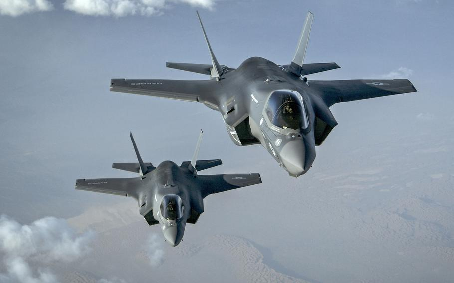 Two Marine Corps F-35B Lightning II's assigned to the Marine Fighter Attack Squadron 211 fly a combat mission over Afghanistan, Sept. 27, 2018.