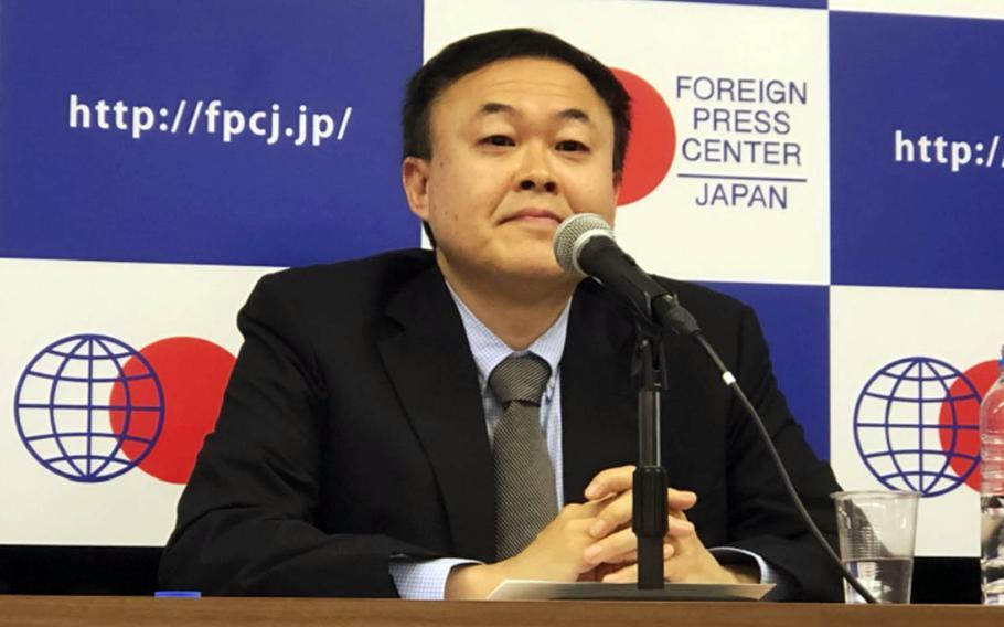 Keio University professor and public diplomacy expert Yasushi Watanabe speaks at Foreign Press Center Japan in Tokyo, Thursday, April 25, 2019.