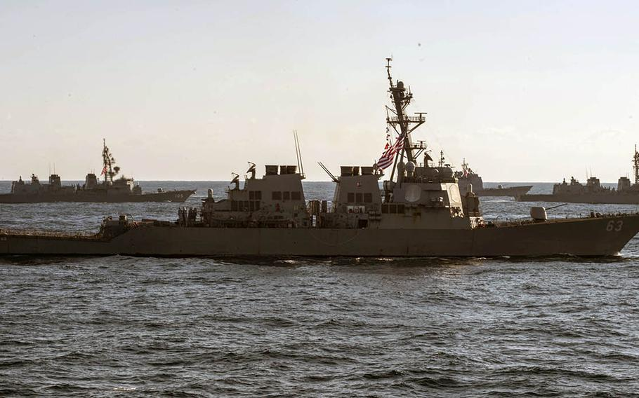 The USS Stethem, foreground, shown here Nov. 12, 2017, sailed through the Taiwan Strait with another destroyer, the USS William P. Lawrence, on April 28-29, 2019.