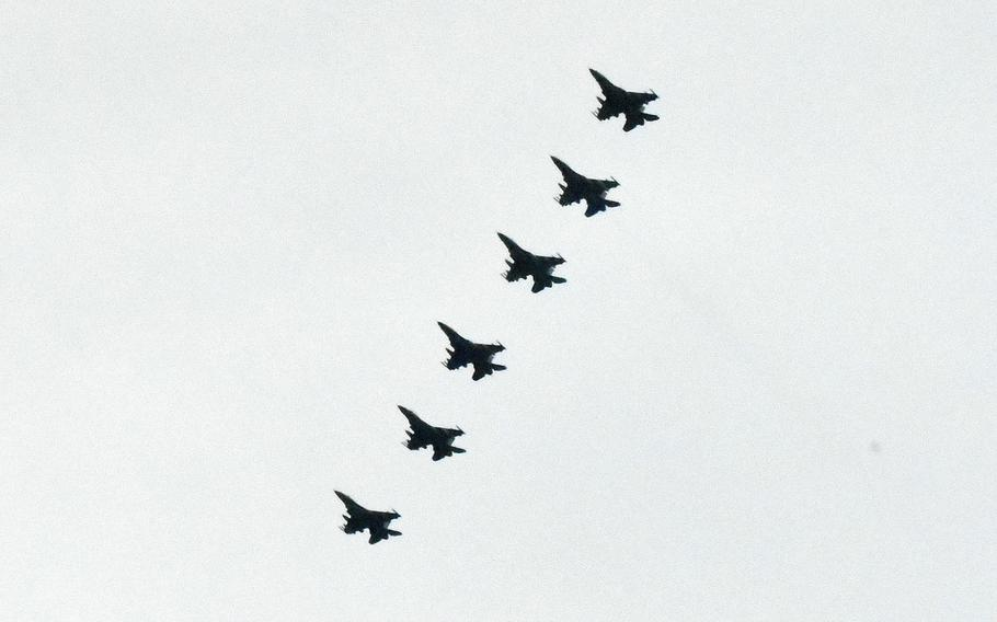 F-16s from the 510th Fighter Squadron, 31st Fighter Wing, Aviano Air Base, Italy, make their approach in formation over Aviano's airfield during the Squadron's redeployment, on Tuesday, April 30, 2019. The returning airmen were deployed for about six months to Afghanistan.