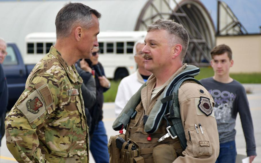 Brig. Gen. Daniel T. Lasica, Commander of the 31st Fighter Wing, greets Lt. Col. Benjamin Freeborn, the forward deployed commander of the 510th Fighter Squadron, at Aviano's airfield, April 30.