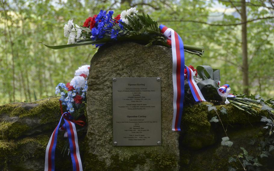 Wreaths and flower bouquets sit on the Ruzov Memorial site during the 74th anniversary of Operation Cowboy celebration at the Ruzov Memorial site, Houston, Czech Republic, on Tuesday, April 30, 2019.