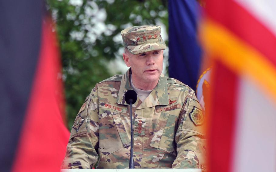 The new commander of the U.S. European Command, Air Force Gen. Tod D. Wolters, speaks at the change of command ceremony at Patch Barracks in Stuttgart, Germany, Thursday, May 2, 2019. Wolters took over the command from Scaparrotti at the ceremony.