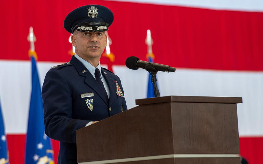 New U.S. Air Forces in Europe and Air Forces Africa Commander Gen. Jeffrey L. Harrigian speaks after taking command at a change-of-command ceremony at Ramstein Air Base, May 1, 2019.
