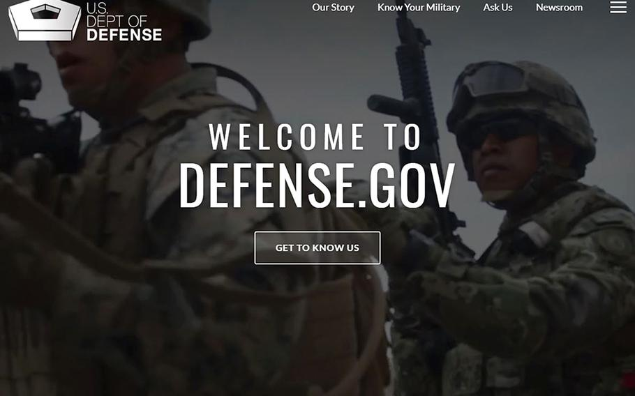 The homepage of the Department of Defense's official website. It is one of maybe thousands that the Pentagon could be responsible for.