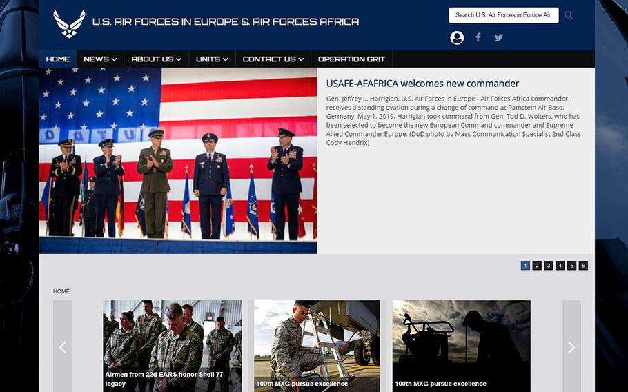The United States Air Forces in Europe homepage. It is one of maybe thousands that the Pentagon could be responsible for.