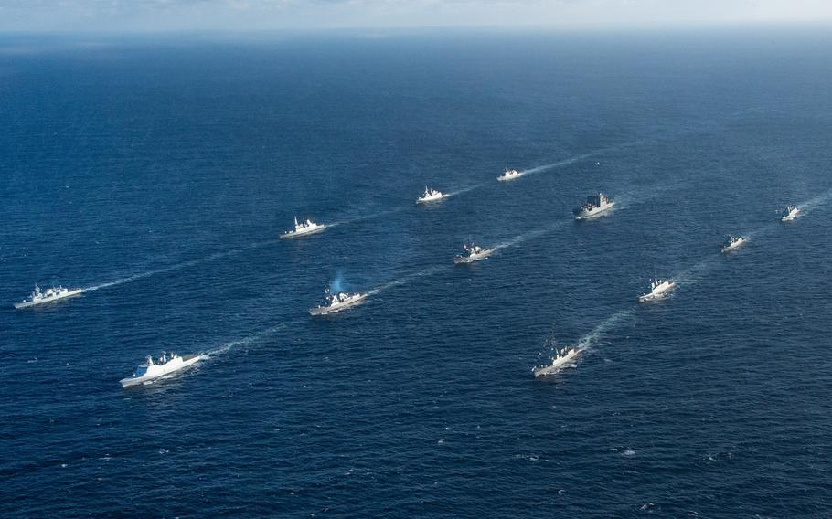 Ships steam in formation in the Atlantic Ocean on May 9, 2019, during exercise Formidable Shield. Nine nations are participating by contributing ships and aircraft, including Canada, Denmark, France, Italy, the Netherlands, Norway, Spain, the United Kingdom and the U.S.