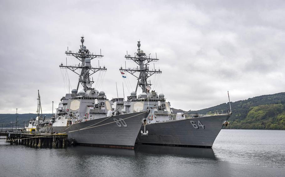 The destroyers USS Roosevelt, left, and USS Carney are moored abreast in Faslane, Scotland, May 7, 2019, before participating in exercise Formidable Shield.