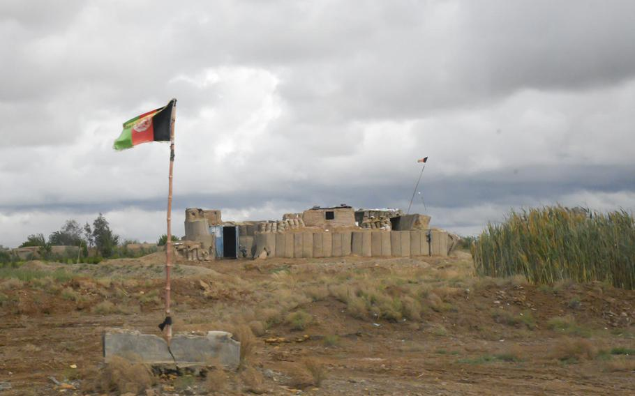 A small checkpoint guarding a highway outside Lashkar Gah, in Helmand province, April 16, 2019. Nearby this checkpoint was a Taliban flag that soldiers attempted to take down for months, but could not due to sniper fire.