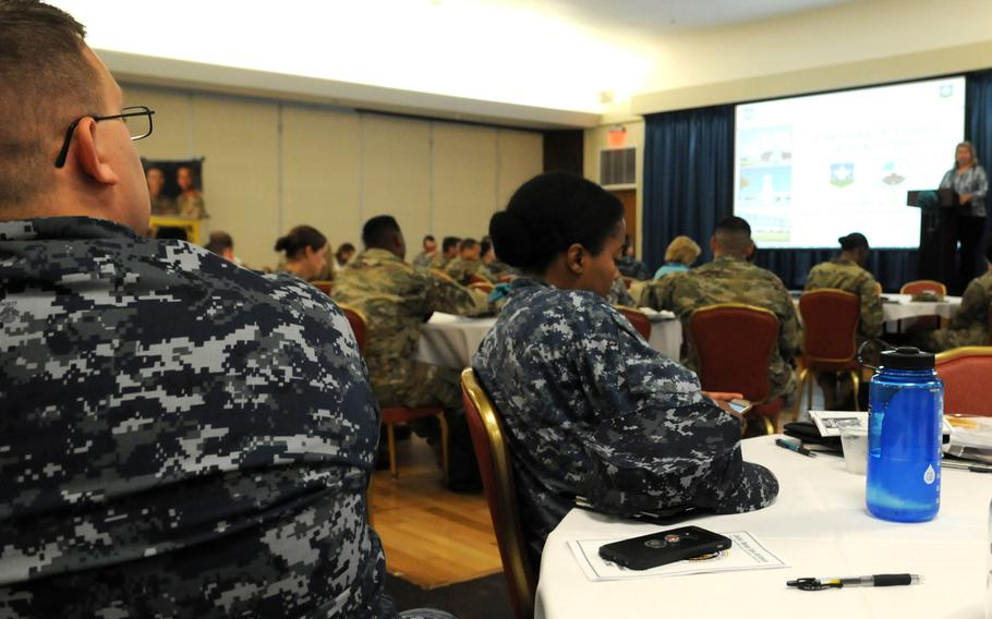 Navy victim advocates attend a Sexual Assault Prevention and Response summit with joint service SAPR and Sexual Harassment and Assault Response and Prevention leaders in San Antonio, Texas, in 2017.