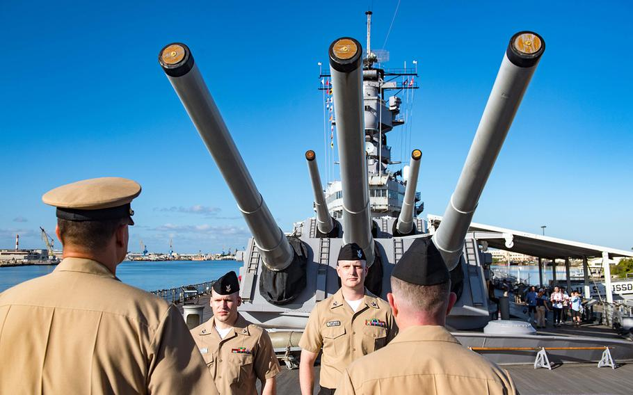 Sailors assigned to the USS Zumwalt attend an awards ceremony aboard the USS Missouri Memorial in Pearl Harbor, Hawaii, April 4, 2019.