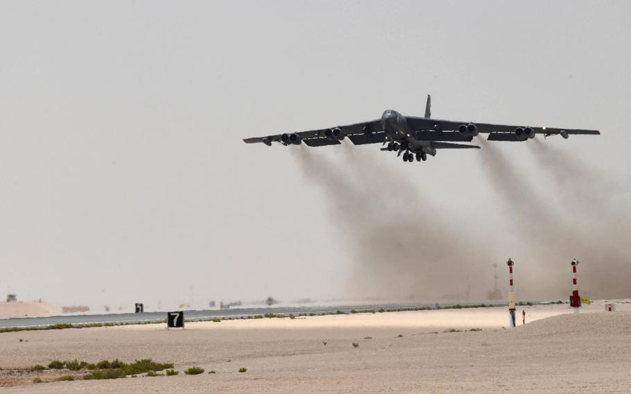 A U.S. Air Force B-52H Stratofortress aircraft assigned to the 20th Expeditionary Bomb Squadron takes off from Al Udeid Air Base, Qatar, on Sunday, May 12, 2019. This was the first mission of the Bomber Task Force deployed to U.S. Central Command area of responsibility in order to defend American forces and interests in the region.