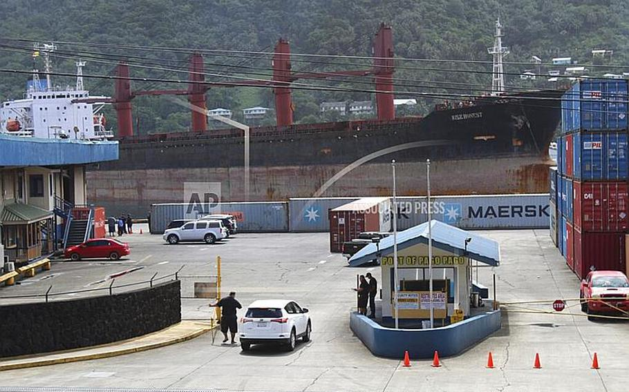 The North Korean cargo ship Wise Honest docks at the main docking section of Pago Pago Harbor, Saturday, May 11, 2019, in American Samoa. The North Korean cargo ship was seized by the U.S. because of suspicion it was used to violate international sanctions.