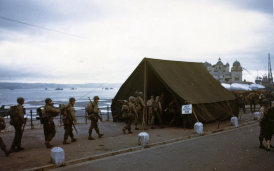 This is the last roll call for the men before they board landing craft for the big assault on the European continent in June 1944.