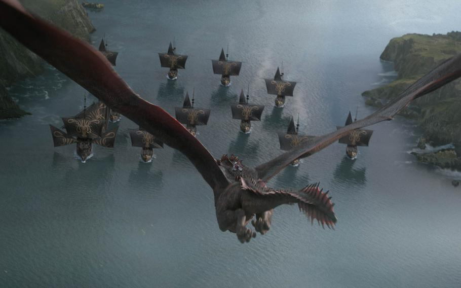Daenerys Targaryen flies a dragon toward a fleet of ships during a scene of HBO's ''Game of Thrones.'' Some soldiers believed this was a risky move.
