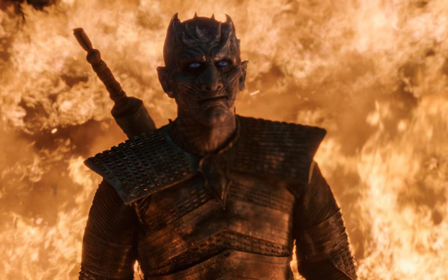 The Night King smiling at the Battle of Winterfell on HBO's ''Game of Thrones.''