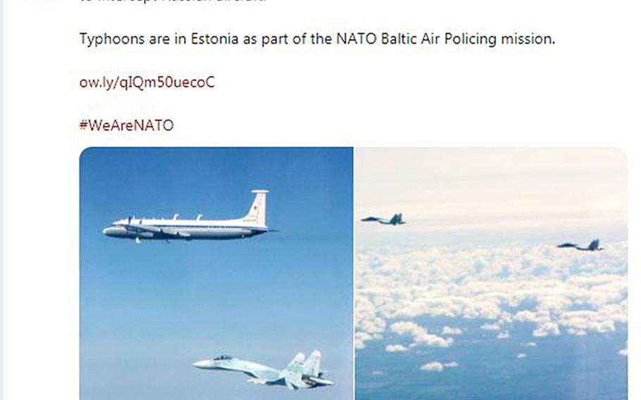 The British Defense Ministry tweets on Thursday, May 16, 2019, that their Typhoon jets intercepted two Russian SU-27 Flanker fighter aircraft and one IL-22 aircraft flying along the Baltic coast.
